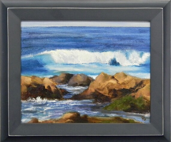 Kauai rock beach - plein air seascape 10x8 original oil painting framed