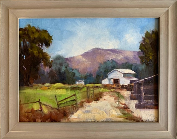 White Barn, California landscape original plein air oil painting 14x11 framed