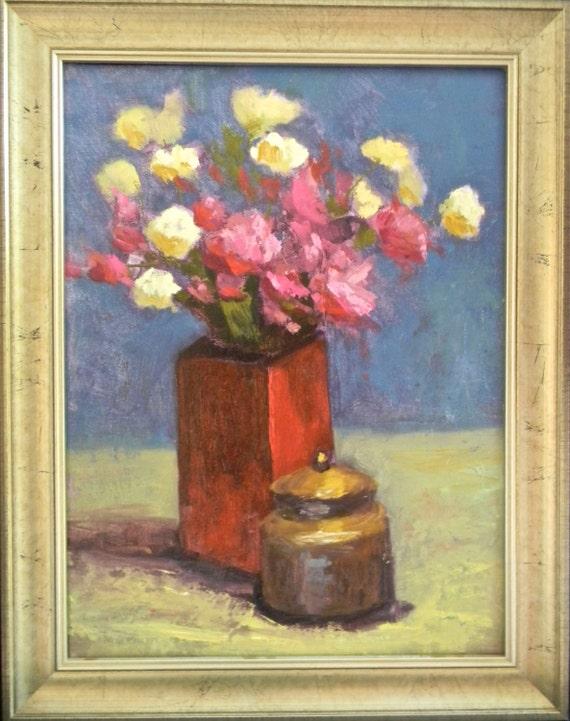 Flowers & Red Vase still life original oil painting 12x16 framed / unframed