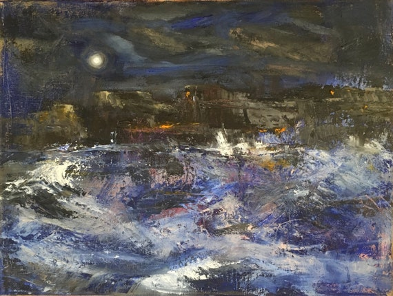 Windy Night - abstract seascape 16x12 original oil painting