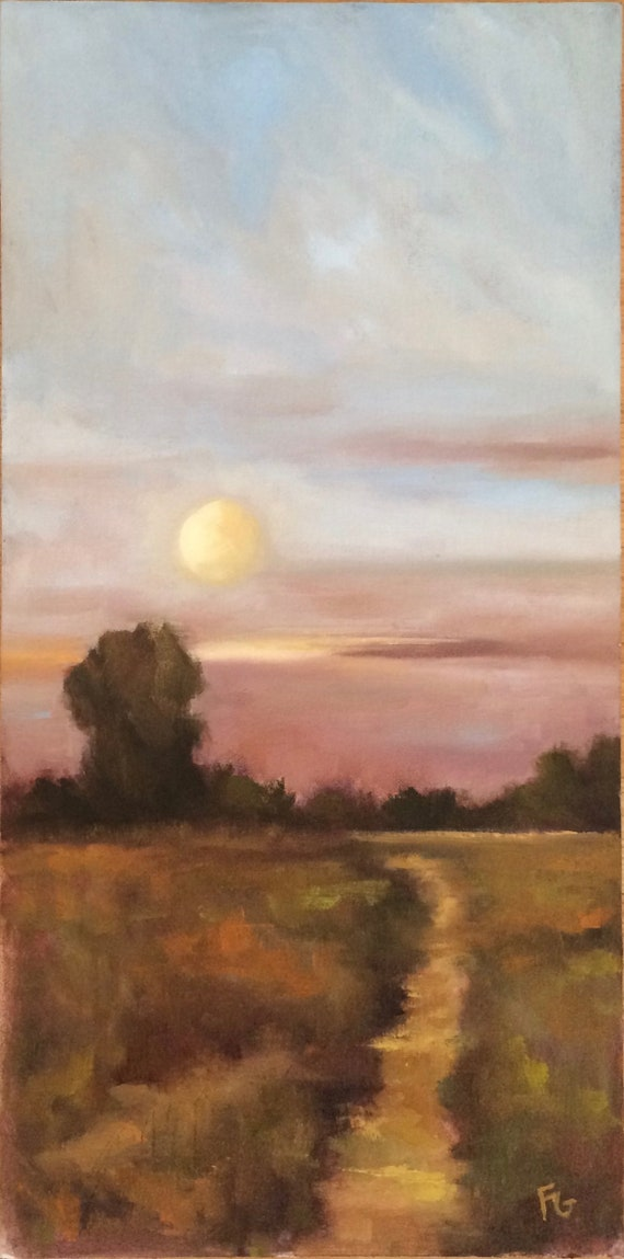 Moon over Baylands - original plein air landscape 12x24 oil painting
