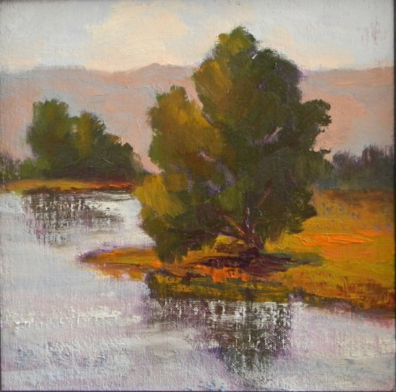 Tree Reflections and Foothills - California landscape plein air 11x11 oil painting square