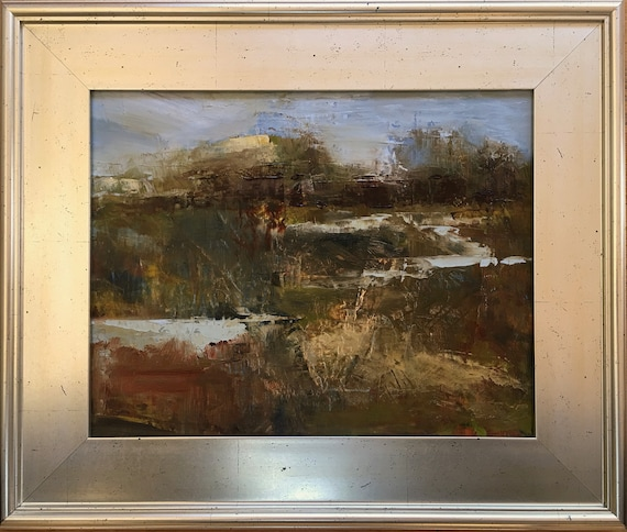 Abstract Baylands - California landscape plein air 14x11 oil painting framed