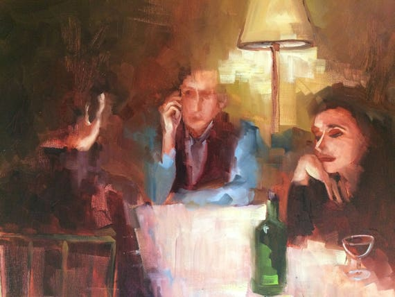 After dinner, original figure oil painting 16x20