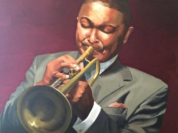 Marsalis, trumpet player original oil painting 24x18