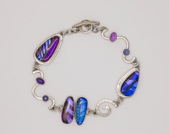 Purple And Blue Dichroic Glass Bracelet With Spirals