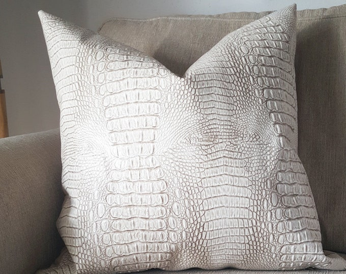 taupe faux croc leather pillow cover - COVER ONLY