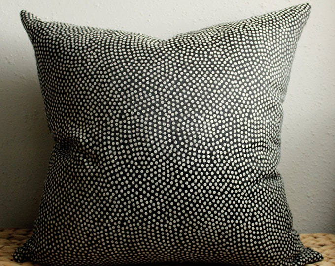 DISCONTINUED black with ivory dots pillow cover - COVER ONLY