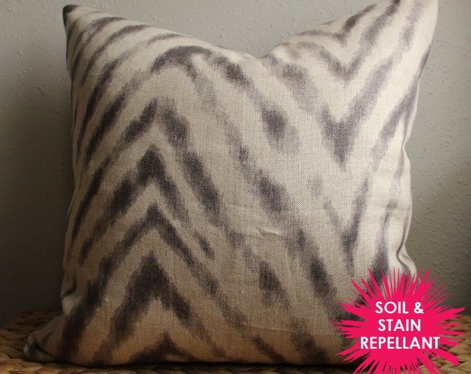 gray and charcoal chevron pillow cover - soil & stain repellant - COVER ONLY