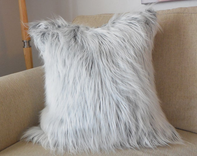 DISCONTINUED gray and white faux mongolian fur pillow cover - COVER ONLY