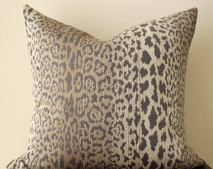 taupe leopard print pillow