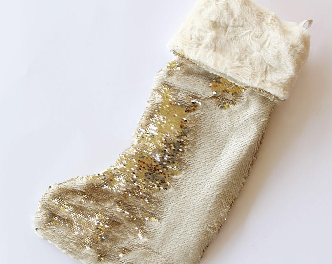 off white and gold sequin christmas stockings - reversible sequin xmas stocking = mermaid fabric xmas stocking