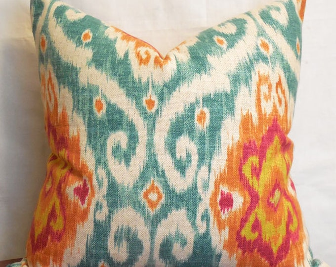 DISCONTINUED colorful linen-blend ikat pillow cover