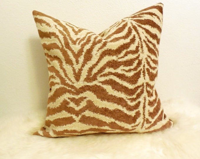 DISCONTINUED - neutral tan and cream zebra print pillow cover