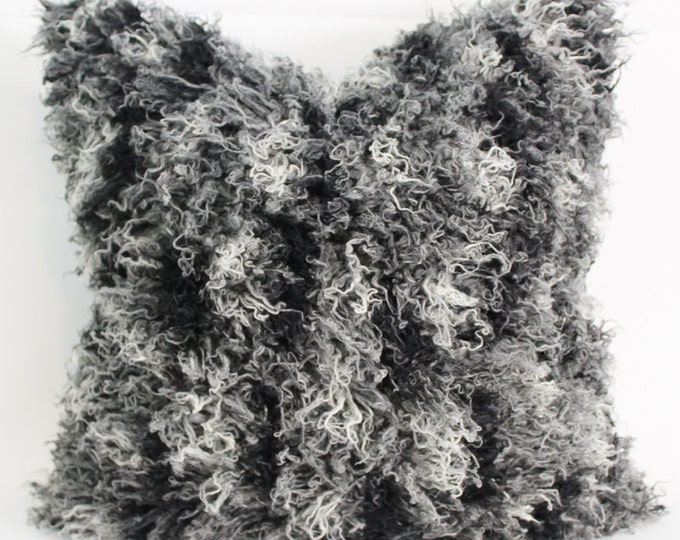 DISCONTINUED black and white African Mongolian faux fur pillow cover - COVER ONLY