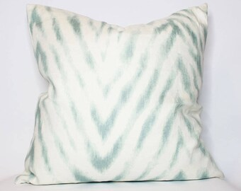 QUICK SHIP - off-white and teal chevron pillow cover - COVER only