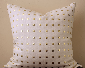 QUICK SHIP - cream studded pillow COVER only - with metal gold studs