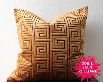 QUICK SHIP - copper velvet greek key pillow COVER only - soil & stain repellant