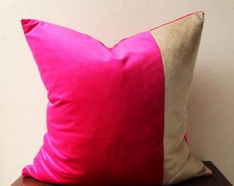 QUICK SHIP - fuchsia velvet pillow with tan snakeskin detail - COVER only