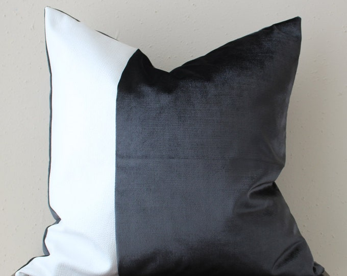 black velvet pillow with white faux leather panel - COVER ONLY