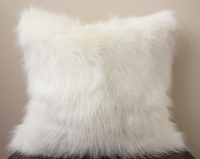 polar white faux fur pillow cover - COVER ONLY