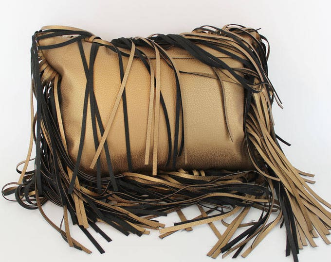"faux leather gold fringe throw pillow - gold faux leather fringe 12x16"" pillow"