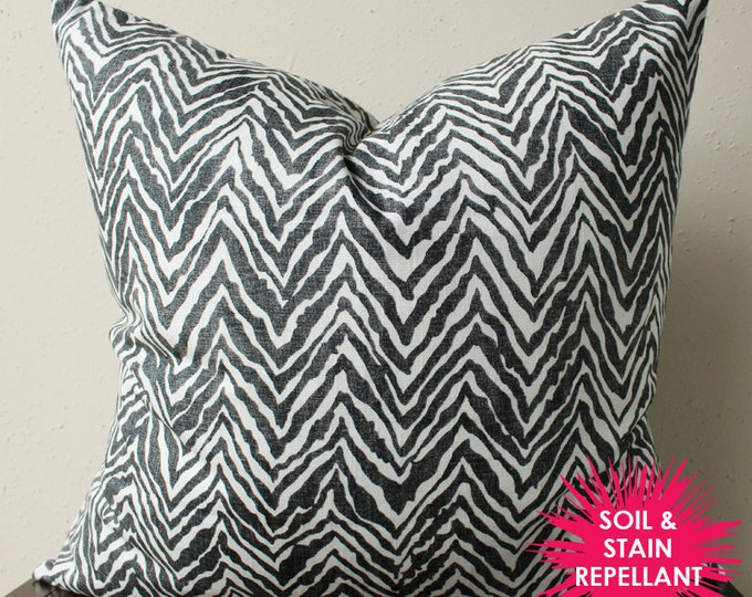 black and white zebra print pillow - soil & stain repellant