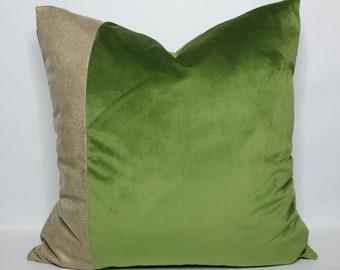 QUICK SHIP - apple green velvet pillow cover with tan snakeskin detail - COVER only