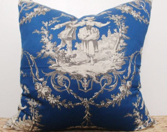 "DISCONTINUED 18"" navy blue toile pillow cover - COVER ONLY"