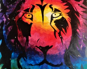 Rainbow Lion Print