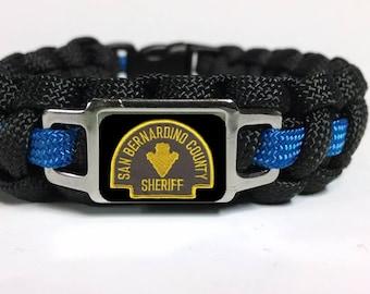 ef0e7688570 Thin Blue Line San Bernardino Sheriff's Office SBSO Patch Badge Star Paracord  Survival Bracelet