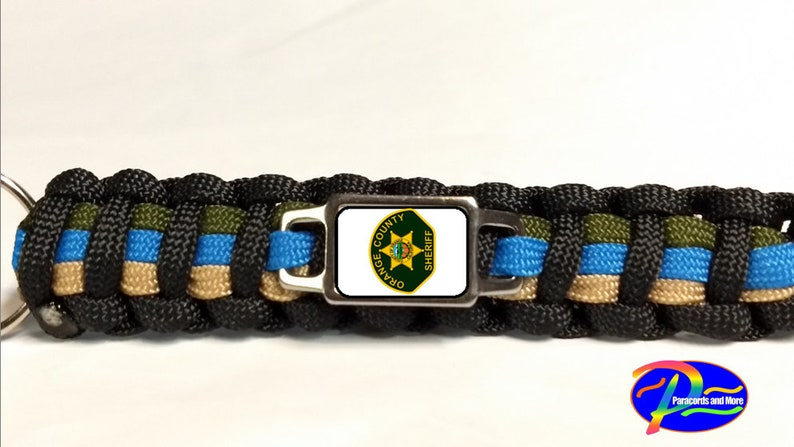 Thin Blue Line Orange County California CA Sheriff/'s Office OCSO Patch Badge Star Paracord Survival Bracelet