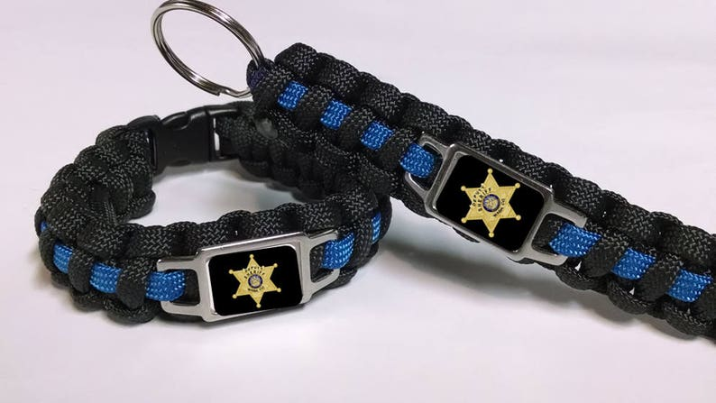 Thin Blue Line Washington County Maryland MD Sheriff's Office WCSO Patch  Badge Star Paracord Survival Bracelet, Key Chain Combo Set