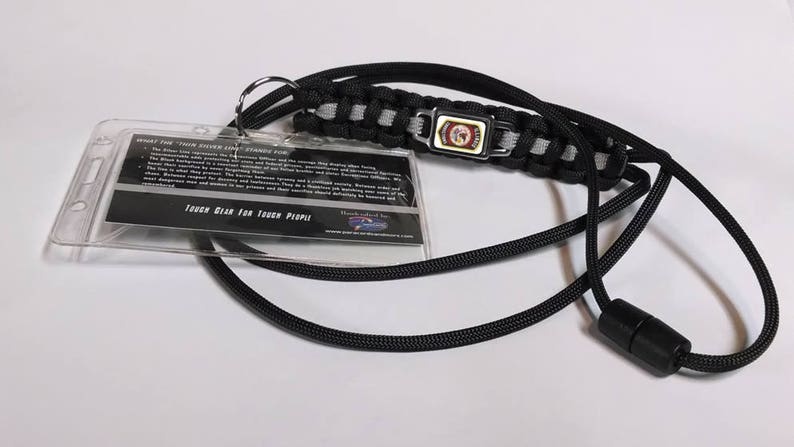 Thin Silver Line Illinois Department of Corrections IDOC Patch Paracord  Survival Lanyard