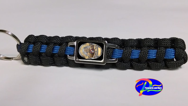 Thin Blue Line Oceanside CA California Police Department Officer OPD Patch Badge Paracord Survival Keychain