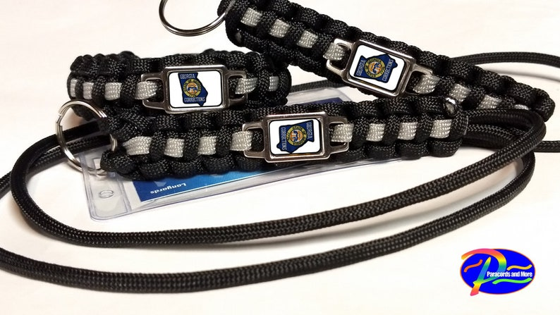 Thin Silver Line Georgia Department of Corrections GDOC Patch and Badge  Paracord Survival Bracelet and Key Chain Lanyard Triple Set