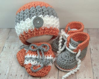 Crochet Baby Boy Hat, Shoes, Mittens in Gray and Orange