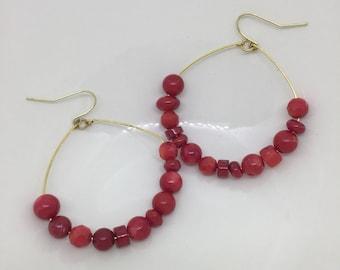 Hoop Earrings / Red Earrings / Large Hoop Earrings / Beaded Hoop Earrings / Boho Earrings / Dangle Earrings / Statement Earrings / Earrings
