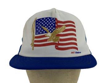 a3f5b8abc4d2d Vintage AC-Delco Trucker Hat    Snap-Back    Mesh    Dad Hat    Patch Hat     Baseball Cap    Eagle    American Flag    Automotive Parts