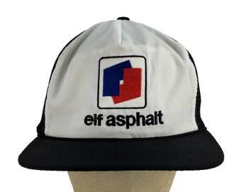 149ac3db97046 Vintage ELF Asphalt Trucker Hat    Snap-Back    Mesh    Dad Hat    Baseball  Cap    Elf Hat    Construction    Road    Parking Lot    Elves