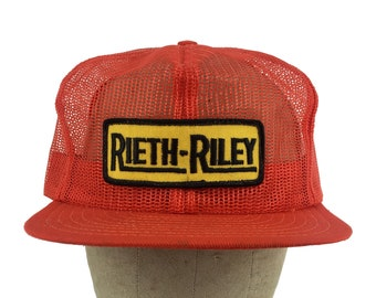 274baa8671d Vintage 80s Rieth-Riley Construction Snap-Back Trucker Hat