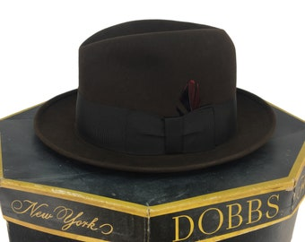 Vintage 50s 60s Dobbs Fifth Avenue Brown Wool Fedora Hat With Box Fitted  Size 7 5 8  44b92f9b271