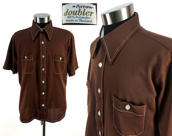 Vintage 70s Chocolate Brown Button-Down Pocket Shirt LARGE by Arrow // Long Collar // 1970s // Disco Era // Short-Sleeve // Doubler // L