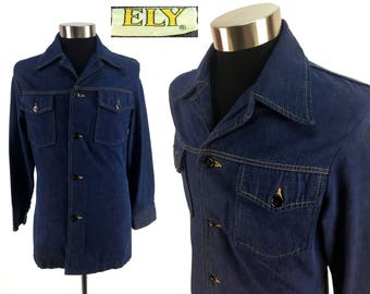 Vintage 70s ELY Denim Jacket Size SMALL -> XS // Jean Jacket // Rockabilly // Rocker // 1970s // Classic // Throwback // Country // Western