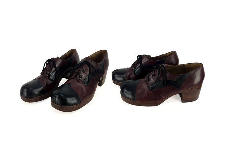7d57dd14f9f Vintage 70s DISCO FEVER Oxblood   Cordovan Leather Platform