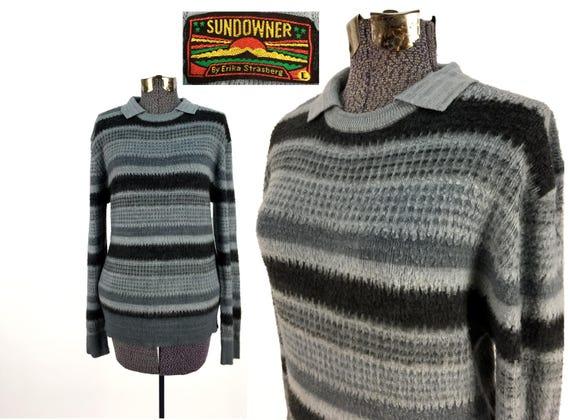 Vintage años 70 80 SUNDOWNER acrílico suéter del suéter del grande suave Horizontal rayas gris Pullover acogedor años 1970