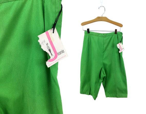 Vintage 60s Jeanies Lime Green High-Waist Bermuda