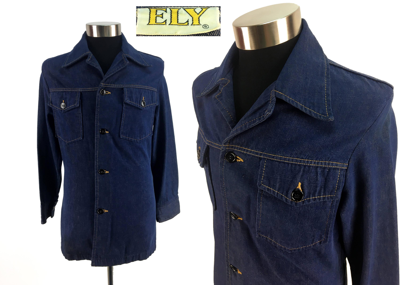 5ad9509818aca5 Vintage 70s ELY Denim Jacket Size SMALL XS // Jean   Etsy