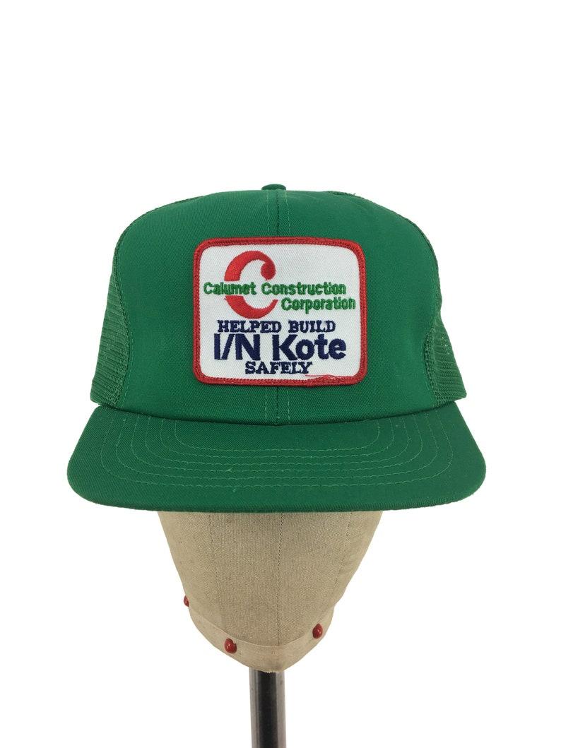 85af025f26a6bd Vintage 80s Calumet Construction Snap-Back Hat trucker hat   Etsy