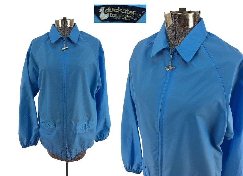 Vintage 80s Women's Duckster Nylon Jacket MEDIUM | windbreaker coach's  jacket lightweight blue 1980s retro athletic sky blue jacket